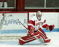 BOSTON, MA - JANUARY 04: Kate Stuart #1 of Boston University save during a game between University of Maine and Boston University at Walter Brown Arena on January 04, 2020 in Boston, Massachusetts.