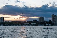 New York, New York City in the time of Coronavirus. Sunset on the Hudson RIver.