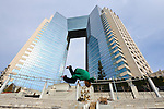"January 27, 2012, Tokyo, Japan - Traceur (parkour practitioner) ""Zen"" executes a flip. Practicing Parkour in Odaiba, Tokyo, Japan, January 27, 2012. Parkour is a modern method of physical training, also known as freerunning. It was founded in France in the 1990s. There is a small group of around 50 parkour practitioners in Tokyo. (Photo by Tony McNicol/AFLO)"