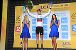 Stefan Kung (SUI) BMC Racing Team retains the young riders White Jersey at the end of Stage 2 of the 104th edition of the Tour de France 2017, running 203.5km from Dusseldorf, Germany to Liege, Belgium. 2nd July 2017.<br /> Picture: Eoin Clarke | Cyclefile<br /> <br /> <br /> All photos usage must carry mandatory copyright credit (&copy; Cyclefile | Eoin Clarke)