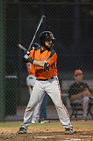 AZL Giants Orange catcher Fabian Pena (14) at bat during an Arizona League game against the AZL Athletics at Lew Wolff Training Complex on June 25, 2018 in Mesa, Arizona. AZL Giants Orange defeated the AZL Athletics 7-5. (Zachary Lucy/Four Seam Images)
