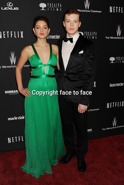BEVERLY HILLS, CA- JANUARY 12: Actors Odeya Rush (L) and Cameron Monaghan attend The Weinstein Company &amp; Netflix 2014 Golden Globes After Party held at The Beverly Hilton Hotel on January 12, 2014 in Beverly Hills, California.<br />