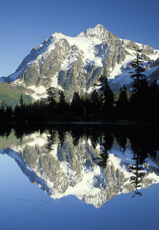 Mount Shuksan reflected on Picture Lake, Mt Baker National Recreation Area, Washington