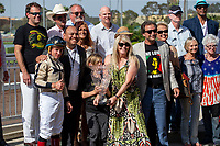 CERRITOS, CA  JULY 24:  Drayden Van Dyke, gives a thumbs up in the winners circle after riding #4 Marley's Freedom to win the Great Lady M Stakes (Grade ll), on July 7, 2018, at Los Alamitos Race Course in Cerritos, CA. (Photo by Casey Phillips/Eclipse Sportswire/Getty Images)