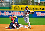 15 March 2009: Detroit Tigers' infielder Will Rhymes gets the out at second but is unable to turn the double play during a Spring Training game against the Washington Nationals at Space Coast Stadium in Viera, Florida. The Tigers shut out the Nationals 3-0 in the Grapefruit League matchup. Mandatory Photo Credit: Ed Wolfstein Photo