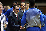 26 November 2014: Duke head coach Mike Krzyzewski (left) with Semi Ojeleye (right). The Duke University Blue Devils hosted the Furman University Paladins at Cameron Indoor Stadium in Durham, North Carolina in a 2014-16 NCAA Men's Basketball Division I game. Duke won the game 93-54.