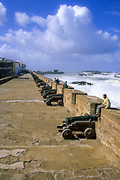 Essaouira, Morocco - Ramparts Protect the Town from the Sea.  Portuguese Cannon Recall a Period of Portuguese Control.