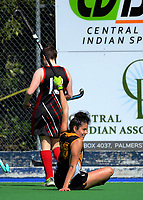 Action from the 2017 Jenny Hair Cup girls hockey match between Awatapu College (brown and yellow) and Sacred Heart College (red and black) at Hockey Manawatu Twin Turfs in Palmerston North, New Zealand on Wednesday, 6 September 2017. Photo: Dave Lintott / lintottphoto.co.nz