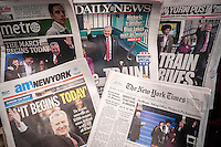 New York newspaper covers on Thursday, January 2, 2014 feature Mayor Bill De Blasio's previous day's inauguration.  (© Richard B. Levine)