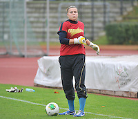 20131013 - BAMBERG , GERMANY :  Belgian Justien Odeurs pictured during the female soccer match between Switzerland Women U17 and Belgium U17 , in the second game of the Elite round in group 6 in the UEFA European Women's Under 17 competition 2013 in the Fuchs Park Stadion - Bamberg  Sunday 13 October 2013. PHOTO DAVID CATRY