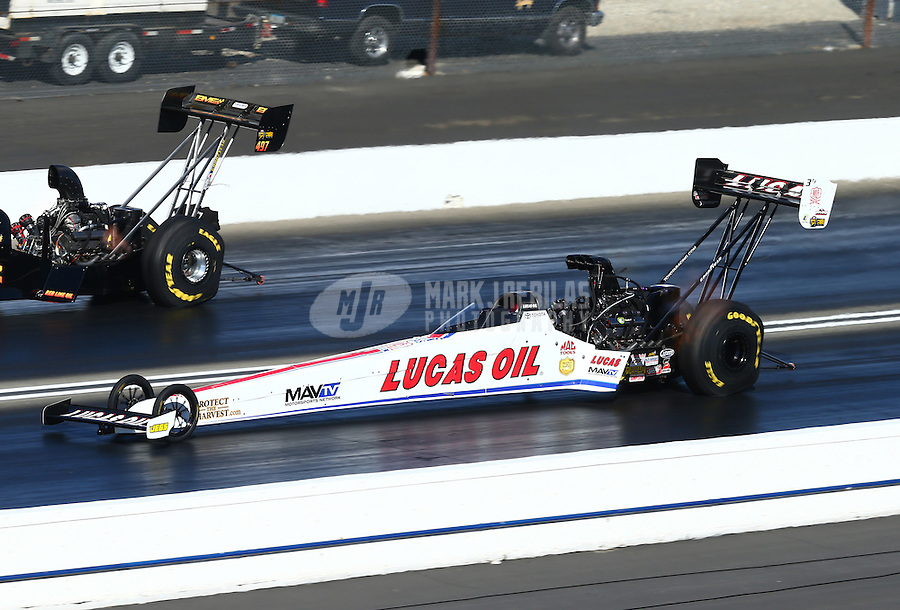 Feb 14, 2016; Pomona, CA, USA; NHRA top fuel driver Richie Crampton during the Winternationals at Auto Club Raceway at Pomona. Mandatory Credit: Mark J. Rebilas-USA TODAY Sports