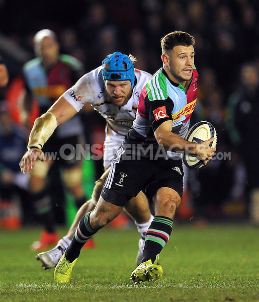 Danny Care of Harlequinsin possession. European Rugby Champions Cup match, between Harlequins and Wasps on January 17, 2015 at the Twickenham Stoop in London, England. Photo by: Patrick Khachfe / JMP