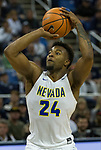 Nevada's Jordan Caroline shoots against Colorado State in the second half of an NCAA college basketball game in Reno, Nev., Sunday, Feb. 25, 2018. (AP Photo/Tom R. Smedes)