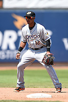 Akron RubberDucks shortstop Francisco Lindor (12) in the field during a game against the Erie SeaWolves on May 18, 2014 at Jerry Uht Park in Erie, Pennsylvania.  Akron defeated Erie 2-1.  (Mike Janes/Four Seam Images)