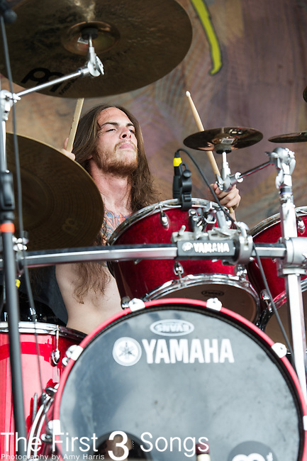 Jon Rice of Job for a Cowboy performs during the 2013 Mayhem Festival at Klipsch Music Center in Indianapolis, Indiana.