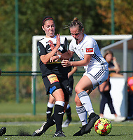 20190921 – LEUVEN, BELGIUM : E. Aalst's Elien van Wynendale is pictured in a duel during a women soccer game between  Oud Heverlee Leuven Ladies B and Eendracht Aalst Ladies on the fourth matchday of the Belgian Division 1 season 2019-2020, the Belgian women's football  national division 1, Saturday 21th September 2019 at the Bruinveld Youth Complex, Domeinstraat in Leuven , Belgium. PHOTO SPORTPIX.BE | SEVIL OKTEM