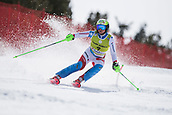 17th March 2018, Àvet Slope, Soldeu, Andorra; FIS Alpine Ski European Cup, Slalom Ladies Finals; #9 BISSIG Carole from SUI during the Slalom Final