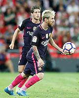 FC Barcelona's Sergi Roberto (l) and Leo Messi during La Liga match. August 28,2016. (ALTERPHOTOS/Acero) /NORTEPHOTO
