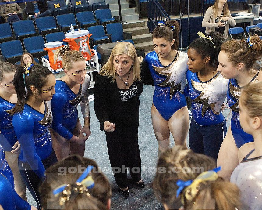 University of Michigan's women's gymnastics 197.075-196.325 loss to #3 Alabama at Crisler Arena in Ann Arbor, MI, on March 4,2011.