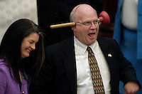 TALLAHASSEE, FL. 4/26/05-Rep. Marty Bowen, R-Haines City, left, reacts to Rep. Dennis Baxley, R-Ocala, as he and other members of the House have some fun at the expense of Bowen's bill regulating portable restroom contractors, Wednesday at the Capitol in Tallahassee. COLIN HACKLEY PHOTO