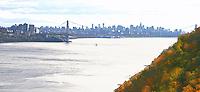 Hudson River entering New York City. New York City skyline in autumn