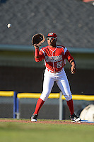 Batavia Muckdogs first baseman Felix Munoz #27 during a game against the Auburn Doubledays on June 18, 2013 at Dwyer Stadium in Batavia, New York.  Batavia defeated Auburn 10-2.  (Mike Janes/Four Seam Images)