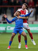 Fleetwood Town's Joe Maguire competing with Carlisle United's Reggie Lambe  <br /> <br /> Photographer Andrew Kearns/CameraSport<br /> <br /> The Carabao Cup First Round - Fleetwood Town v Carlisle United Kingdom - Tuesday 8th August 2017 - Highbury Stadium - Fleetwood<br />  <br /> World Copyright &copy; 2017 CameraSport. All rights reserved. 43 Linden Ave. Countesthorpe. Leicester. England. LE8 5PG - Tel: +44 (0) 116 277 4147 - admin@camerasport.com - www.camerasport.com