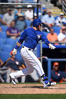 Toronto Blue Jays infielder Justin Smoak (14) during a Spring Training game against the Houston Astros on March 9, 2015 at Florida Auto Exchange Stadium in Dunedin, Florida.  Houston defeated Toronto 1-0.  (Mike Janes/Four Seam Images)