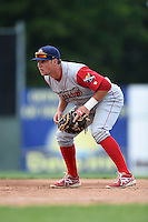 Williamsport Crosscutters first baseman Rhys Hoskins (12) during a game against the Batavia Muckdogs on July 27, 2014 at Dwyer Stadium in Batavia, New York.  Batavia defeated Williamsport 6-5.  (Mike Janes/Four Seam Images)