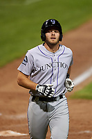Grand Junction Rockies Reese Berberet (22) jogs toward the dugout after scoring a run during a Pioneer League game against the Grand Junction Rockies at Dehler Park on August 15, 2019 in Billings, Montana. Billings defeated Grand Junction 11-2. (Zachary Lucy/Four Seam Images)