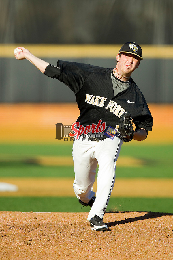 Wake Forest Demon Deacons starting pitcher Matt Pirro (1) in action against the North Carolina Tar Heels at Wake Forest Baseball Park on March 9, 2013 in Winston-Salem, North Carolina.  The Tar Heels defeated the Demon Deacons 20-6.  (Brian Westerholt/Sports On Film)