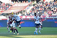 12th January 2020; Olympic Grande Torino Stadium, Turin, Piedmont, Italy; Serie A Football, Torino versus Bologna; Danilo of Bologna FC challenges Lorenzo De Silvestri of Torino FC - Editorial Use