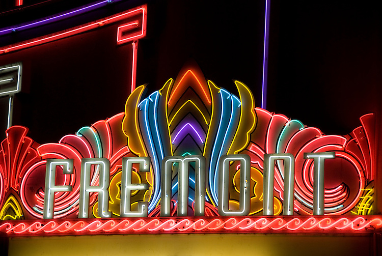 California, San Luis Obispo County: Art Deco Fremont Theater in downtown San Luis Obispo.  Neon lights..Photo caluis144-70879..Photo copyright Lee Foster, www.fostertravel.com, 510-549-2202, lee@fostertravel.com