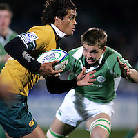 Australian full back Peter Betham on the attack during the Division A U19 World Championship clash at Ravenhill.