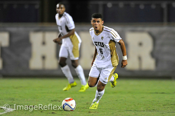 26 September 2015:  FIU midfielder Brad Fountain (6) advances the ball in the first half as the FIU Golden Panthers defeated the Marshall University Thundering Herd, 5-1, at University Park Stadium in Miami, Florida.