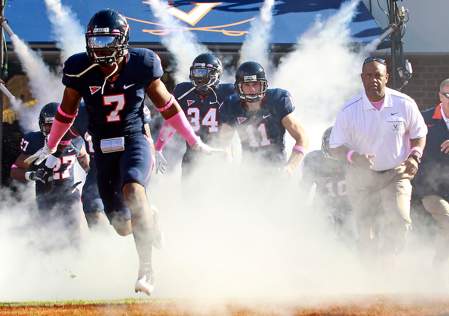 Oct. 22, 2011 - Charlottesville, Virginia - USA; Virginia Cavaliers safety Corey Mosley (7) runs onto the field during an NCAA football game against the North Carolina State Wolfpack at the Scott Stadium. NC State defeated Virginia 28-14. (Credit Image: © Andrew Shurtleff