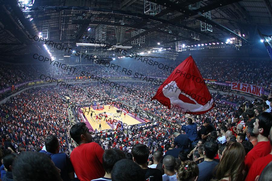 Crvena Zvezda supporters, Delije, during Euroleague basketball match between Crvena Zvezda and Galatasaray at Kombank Arena in Belgrade, Serbia on October 16.2014. (credit image & photo: Pedja Milosavljevic / STARSPORT / +318 64 1260 959 / thepedja@gmail.com)
