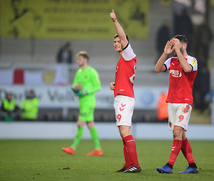 Fleetwood Town's Nathan Sheron acknowledges the fans at the end of the game<br /> <br /> Photographer Chris Vaughan/CameraSport<br /> <br /> The EFL Sky Bet League One - Saturday 23rd February 2019 - Burton Albion v Fleetwood Town - Pirelli Stadium - Burton upon Trent<br /> <br /> World Copyright © 2019 CameraSport. All rights reserved. 43 Linden Ave. Countesthorpe. Leicester. England. LE8 5PG - Tel: +44 (0) 116 277 4147 - admin@camerasport.com - www.camerasport.com
