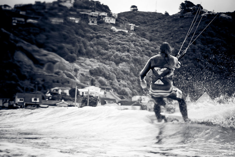 Kiteboarding Lyall Bay, Wellington, New Zealand - Shot from the water on the 1st May 2010