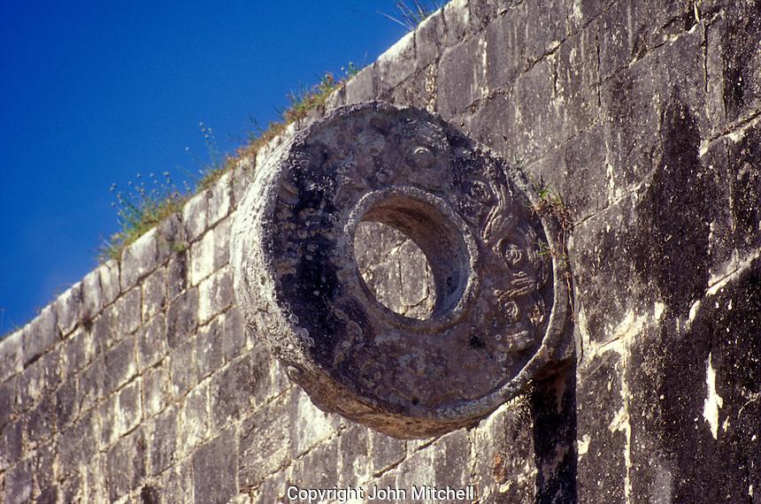 Stone hoop in the Great Ball Court or Gran Juego de Pelota at the Mayan ruins of Chichen Itza, Yucatan, Mexico