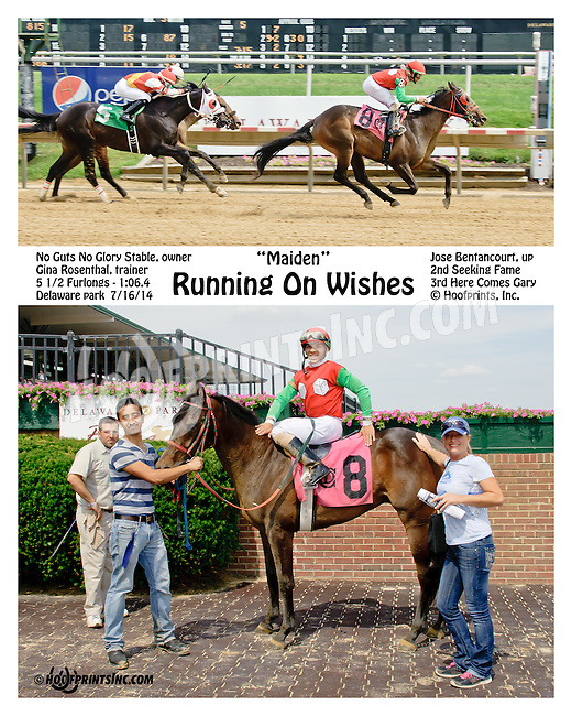 Running on Wishes winning at Delaware Park on 7/16/14