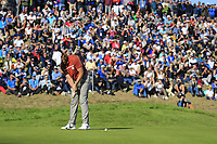 Tommy Fleetwood (Team Europe) putts on the 9th green during Saturday's Foursomes Matches at the 2018 Ryder Cup 2018, Le Golf National, Ile-de-France, France. 29/09/2018.<br /> Picture Eoin Clarke / Golffile.ie<br /> <br /> All photo usage must carry mandatory copyright credit (© Golffile | Eoin Clarke)