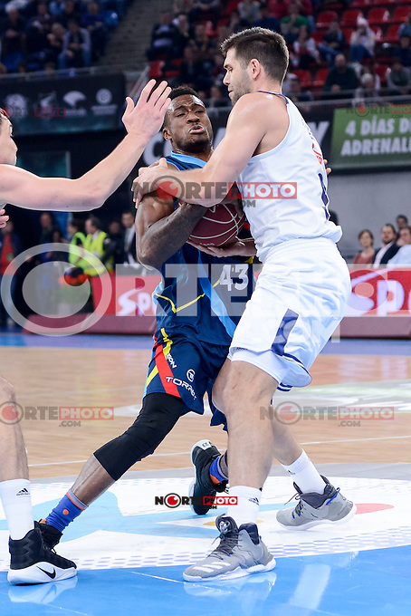 Real Madrid's Felipe Reyes and Morabanc Andorra's Thanasis Antetokounmpo during Quarter Finals match of 2017 King's Cup at Fernando Buesa Arena in Vitoria, Spain. February 16, 2017. (ALTERPHOTOS/BorjaB.Hojas) /Nortephoto.com