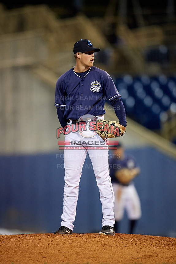 Lake County Captains relief pitcher Jonathan Teaney (16) looks in for the sign during the second game of a doubleheader against the South Bend Cubs on May 16, 2018 at Classic Park in Eastlake, Ohio.  Lake County defeated South Bend 5-2.  (Mike Janes/Four Seam Images)