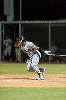 AZL Indians 2 left fielder Cristopher Cespedes (30) releases his bat as he starts down the first base line during an Arizona League game against the AZL Cubs 2 at Sloan Park on August 2, 2018 in Mesa, Arizona. The AZL Indians 2 defeated the AZL Cubs 2 by a score of 9-8. (Zachary Lucy/Four Seam Images)