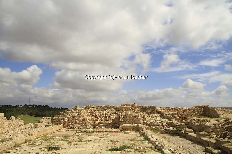 Israel, Shephelah, ruins of the ancient Synagogue in Hurvat Rimon