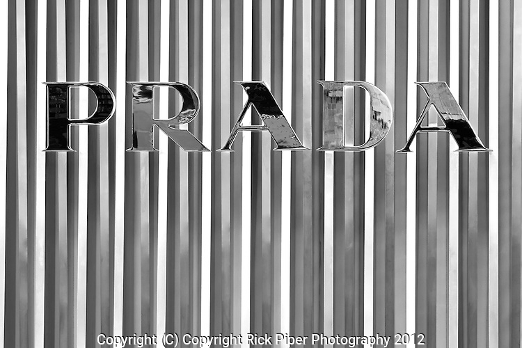 Prada shop sign at the ION Orchard shopping centre, Orchard Road, Singapore