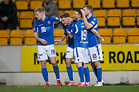 12th February 2020; McDairmid Park, Perth, Perth and Kinross, Scotland; Scottish Premiership Football, St Johnstone versus Motherwell; Callum Hendry of St Johnstone is congratulated after scoring for 1-0  in the 27th minute