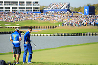 Rory McIlroy (Team Europe) in action on 18th hole during the sunday singles at the Ryder Cup, Le Golf National, Paris, France. 30/09/2018.<br /> Picture Phil Inglis / Golffile.ie<br /> <br /> All photo usage must carry mandatory copyright credit (© Golffile | Phil Inglis)