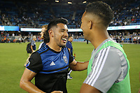 SAN JOSE, CA - AUGUST 24: Andres Rios #25 of the San Jose Earthquakes celebrates after a Major League Soccer (MLS) match between the San Jose Earthquakes and the Vancouver Whitecaps FC  on August 24, 2019 at Avaya Stadium in San Jose, California.
